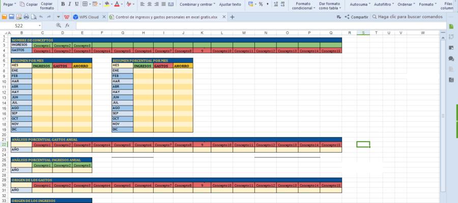 Control De Ingresos Y Gastos Personales En Excel Gratis