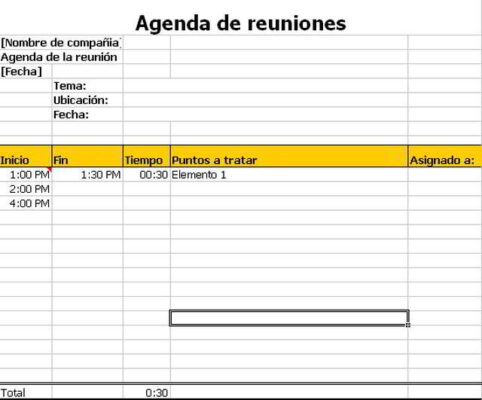 Agenda De Reuniones En Excel